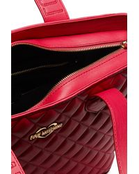 Love Moschino - Red Quilted Pu Leather Shoulder Bag - Lyst