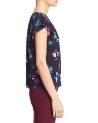 Rebecca Taylor Blue 'bellflower' Flutter Sleeve Floral Silk Top