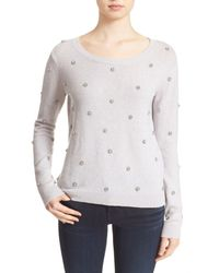 Joie | Gray 'myron C' Embellished Wool & Cashmere Pullover | Lyst