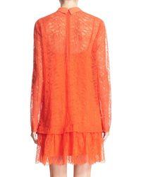 McQ   Red Ruffle Hem Lace Dress   Lyst