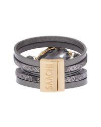 Saachi - Gray Morning Leather Bracelet Grey - Lyst