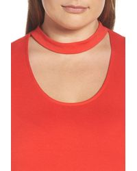 Vince Camuto - Red Mock Choker High/low Blouse - Lyst