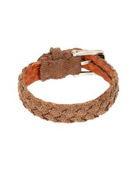 John Varvatos - Brown Braided Fabric Cuff Bracelet for Men - Lyst