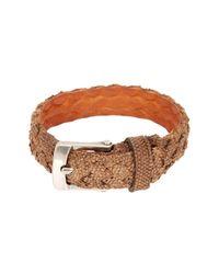 John Varvatos - Brown Braided Fabric Cuff Bracelet for Men - Lyst