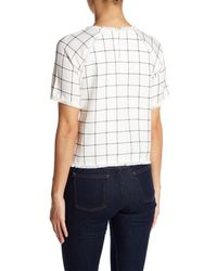 Lucy Paris White Giana Windowpane Short Sleeve Blouse