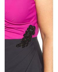 Alex Evenings - Black Embellished Side Ruched Colorblock Sheath Dress (plus Size) - Lyst