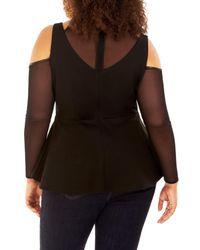 REBEL WILSON X ANGELS - Black Ponte Knit & Mesh Peplum Top (plus Size) - Lyst