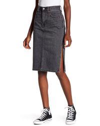 Levi's - Black Side Slit Jean Skirt - Lyst