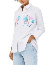 TOPSHOP - White Palm & Giraffe Embroidered Shirt - Lyst
