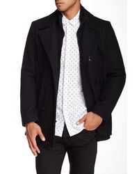 Kenneth Cole - Black Double Breasted Peacoat for Men - Lyst