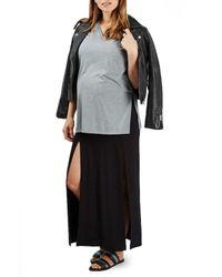 TOPSHOP - Black Split Maternity Maxi Skirt - Lyst