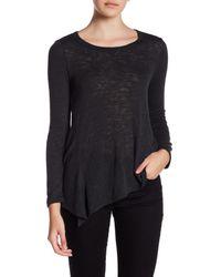 Bobeau - Black Asymmetrical Hem Long Sleeve Knit Tee - Lyst