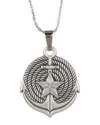 ALEX AND ANI - Metallic Silver Anchor Ii Engraved Necklace - Lyst