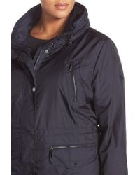 MICHAEL Michael Kors - Blue Water Repellent Hooded Anorak (plus Size) - Lyst
