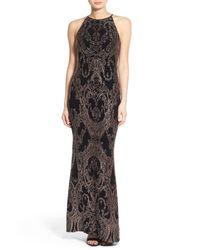 Jump - Black Glitter High Neck Gown - Lyst