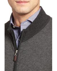 Peter Millar - Gray Wool Blend Twill Knit Zip Sweater for Men - Lyst