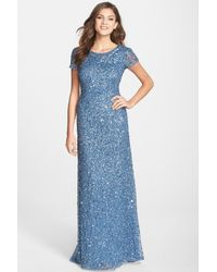 Adrianna Papell - Blue Short Sleeve Sequin Mesh Gown - Lyst