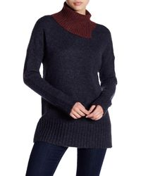 French Connection - Blue Block Knit Sweater - Lyst