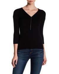 Kinross Cashmere - Black Cashmere Partial Zip V-neck Sweater - Lyst