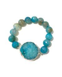 Charlene K - Blue Druzy & Agate Beaded Stretch Bracelet - Lyst