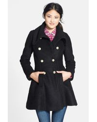 Guess - Black Women'S Double Breasted Boucle Coat - Lyst