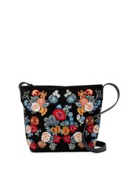 Lucky Brand - Black Super Bloom Floral Embroidered Suede Crossbody Bag - Lyst