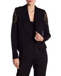Catherine Malandrino Black Lace Sleeve Blazer