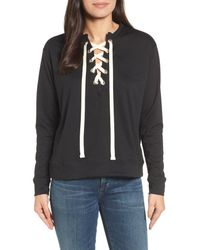 Caslon - Black Caslon Lace-up Sweatshirt - Lyst