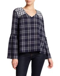 Caslon - Blue 3/4 Length Sleeve Plaid Boho Blouse (petite) - Lyst