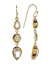 Melinda Maria - Metallic Levi Teardrop Pave Geo Linear Earrings - Lyst