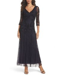 Pisarro Nights - Blue Embellished Mesh Drop Waist Dress - Lyst