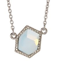 Rebecca Minkoff | White Gem Hex Stone Pendant Necklace | Lyst