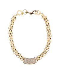 Rebecca Minkoff | Metallic Chunky Crystal Id Collar Necklace | Lyst