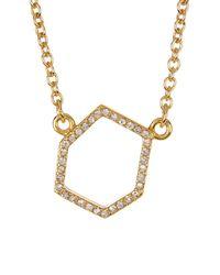 Rebecca Minkoff - Metallic Gem Hex Pave Pendant Necklace - Lyst