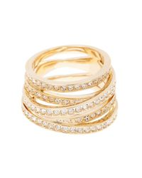 Swarovski - Metallic 23k Gold Plated Spiral Crystal Ring - Size 52 (us 6) - Lyst