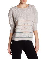 INHABIT | Gray Sheer Stripes Crew Neck Sweater | Lyst