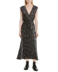 Vince - Multicolor Spring Floral Faux Wrap Silk Dress - Lyst