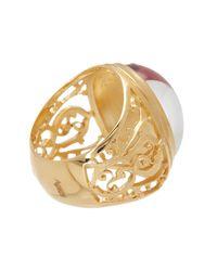 Baccarat - Metallic Favorite Gold Vermeil Oval Crystal Filigree Ring - Size 6.5 - Lyst