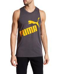 PUMA | Gray Essential Graphic Tank for Men | Lyst