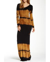 29d39a6f53 Go Couture Long Sleeve Tie-dye Maxi Dress in Black - Lyst