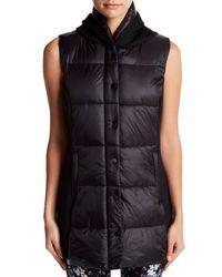 Betsey Johnson | Black Hybrid Puffer Hooded Vest | Lyst