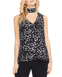Vince Camuto - Black Animal Whispers Cutout V-neck Blouse - Lyst