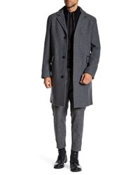 Cole Haan - Gray Genuine Leather Trim Topper Coat for Men - Lyst
