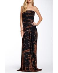 Go Couture - Black Tie-dye Strapless Maxi Dress - Lyst