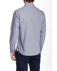 Vince Camuto - Blue Long Sleeve Dobby Gingham Slim Fit Shirt for Men - Lyst
