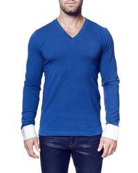 Maceoo - Blue V-neck Pullover for Men - Lyst