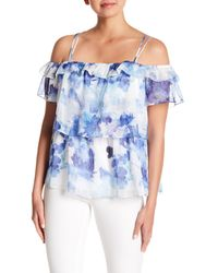 Cece by Cynthia Steffe - Blue Dreamy Floral Cold Shoulder Blouse - Lyst
