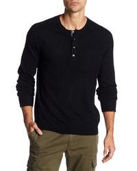 Vince - Black Long Sleeve Cashmere Henley for Men - Lyst
