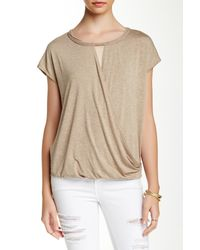 Max Studio - Natural Wrap Front Tee - Lyst