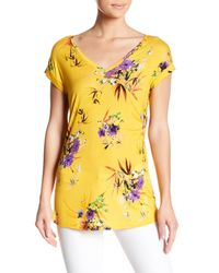 Philosophy Apparel - Yellow Cuffed Floral Print Tee - Lyst